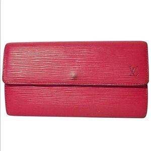 Louis Vuitton red epi leather long snap wallet